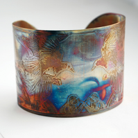 Etched Copper flying magpie Cuff - large size - SALE 20% off was 30 pounds