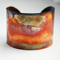Etched Copper flower Cuff - large size