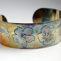 Medium copper flower cuff