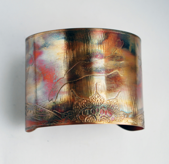 Etched copper hare cuff  20% off St Valentines day sale was 30 pounds