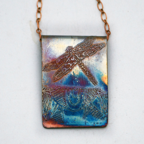 Etched Copper Dragonfly Pendant