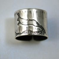 Sterling silver Running Hare Ring