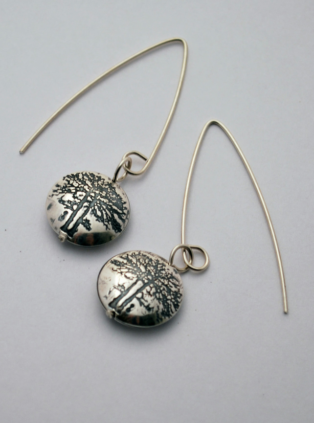 sterling silver tree capsule drop earrings