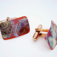 Pattern Etched Copper Cufflinks
