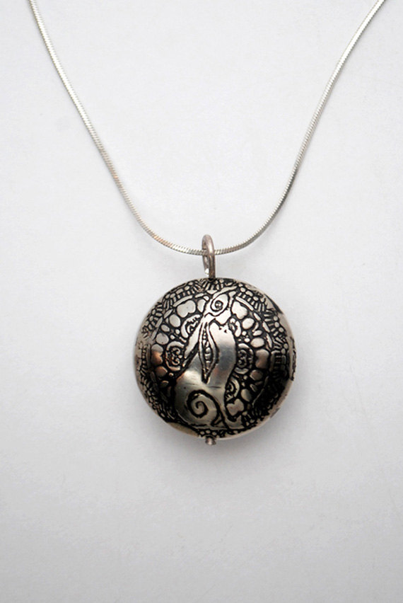 Large Sterling silver Moongazing Hare capsule pendant