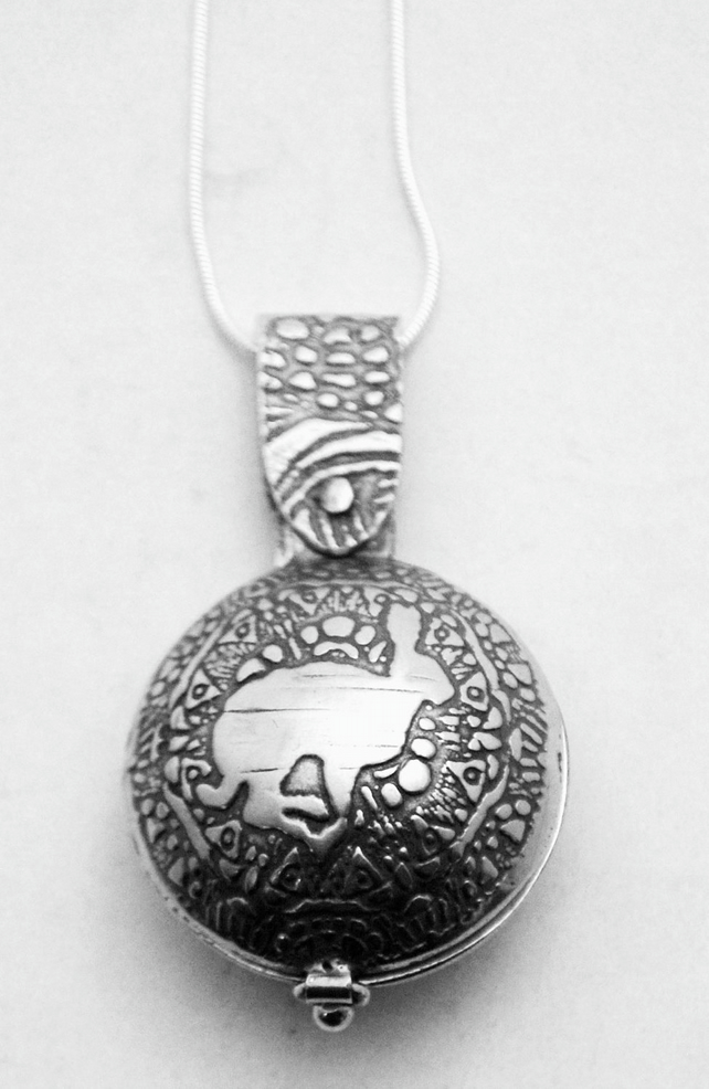 Sterling silver Running Hare locket, swivel design