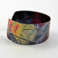 Medium copper Hare cuff, leaping, running, jumping hare
