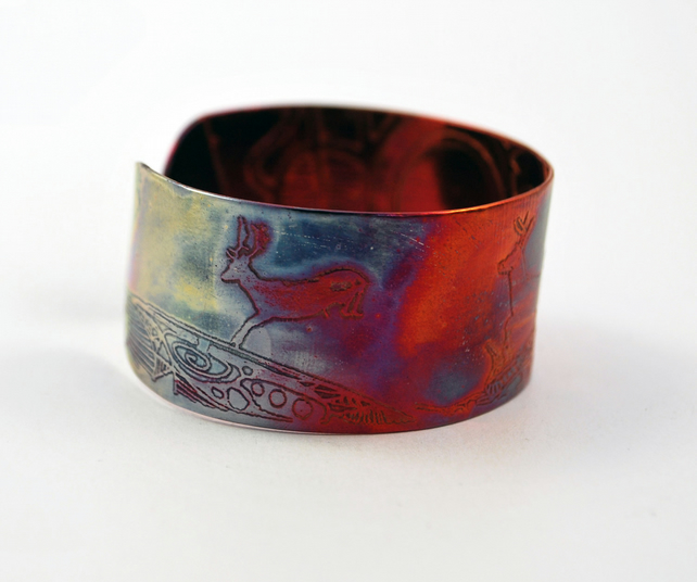 Medium copper stag deer cuff