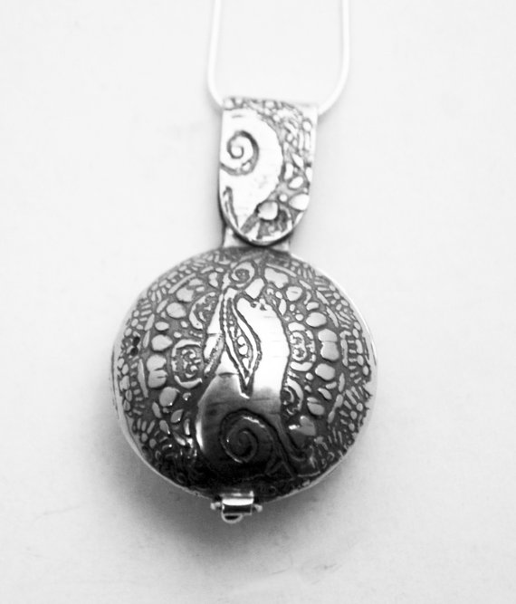 Sterling silver Moongazing Hare locket, swivel design