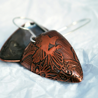 Magpie Triangle Shape Copper and Silver Earrings