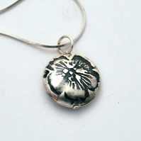 Sterling Silver Pattern flower pendant, small