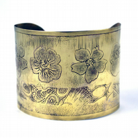 Etched brass flower Cuff - large size