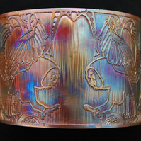 Etched Copper Owl Cuff - large size