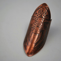 medieval etched shield ring - copper ring - armour ring