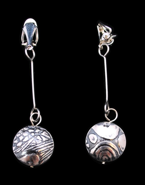 Sterling Silver Pattern Capsule Drop Clip-on Earrings