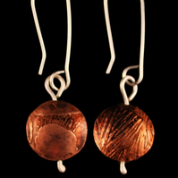 Copper Pattern Capsule Drop Earrings
