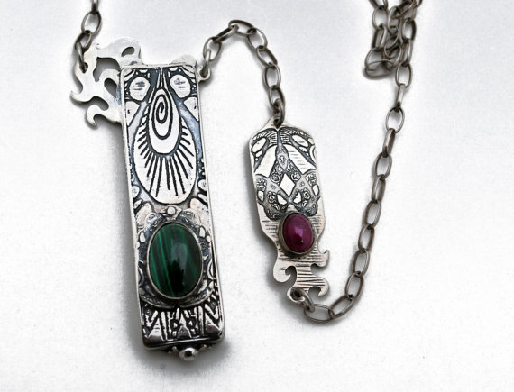Silver Locket with Ruby and Malchite - How Does Your Garden Grow - Locketbox