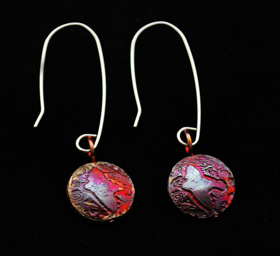Copper Bird on Wing drop earrings