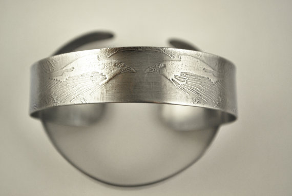 Surgical steel Raven Cuff, natural silver finish, slim