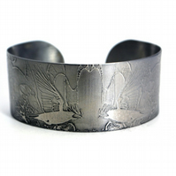 Surgical steel Rook Cuff, natural silver finish