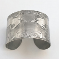 Surgical steel Raven Cuff, natural silver finish, large