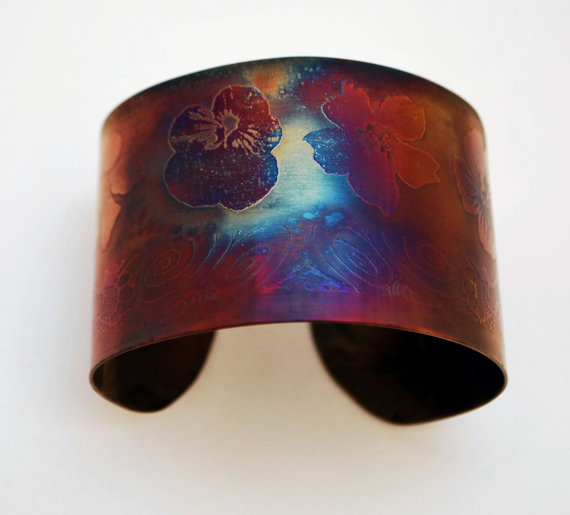 Surgical steel Flower Cuff, multicolured finish, large