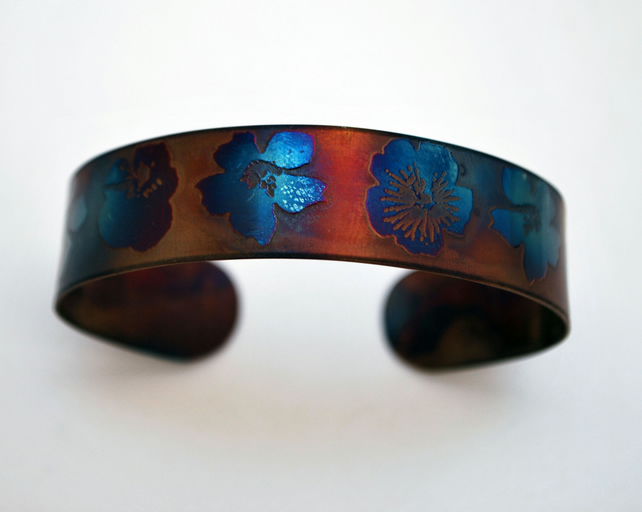 Surgical steel flowers Cuff, multicolured finish, slim