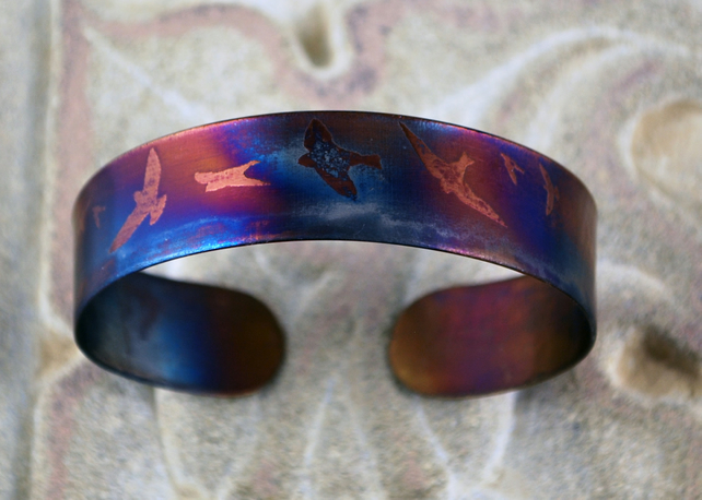 Surgical steel bird on wing Cuff, multicolured finish, slim