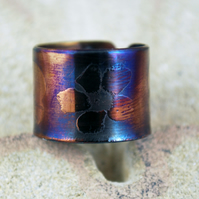 Etched surgical steel flowers ring - stainless steel - adjustable size