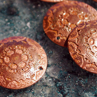 Etched Copper Spacer Disks - copper flower - drilled spacer disks