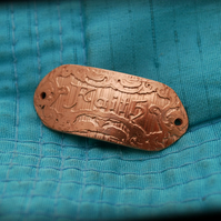 Art Nouveau Etched 'Faith' Design Copper Spacer