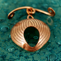 Handmade Copper Toggle & Clasp - Fingerprint illusion- handmade