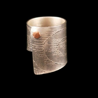 Sterling silver etch printed copper riveted ring