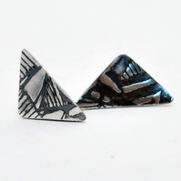 Flat silver triangle stud earrings