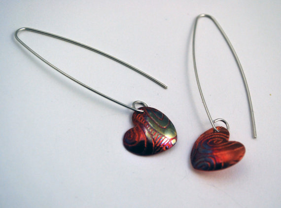 Copper heart shaped drop earrings