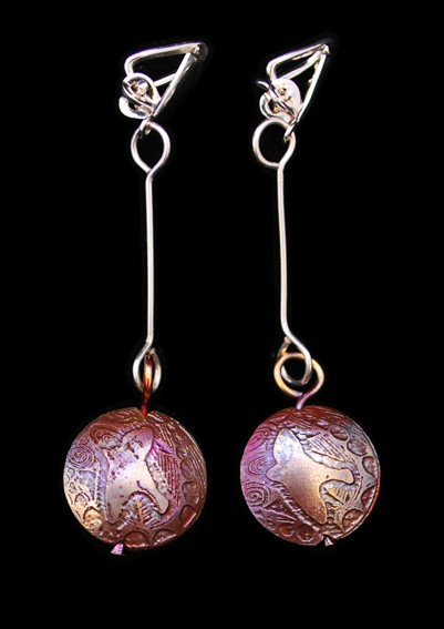 Copper Bird on the Wing Capsule Drop clip on Earrings