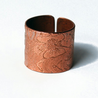 Etched Copper Floral Ring - Adjustable size