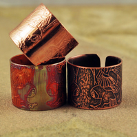 Etched Copper Owl Ring - Adjustable size