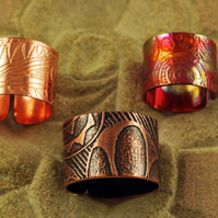 Etched Copper Pattern Ring - Adjustable size