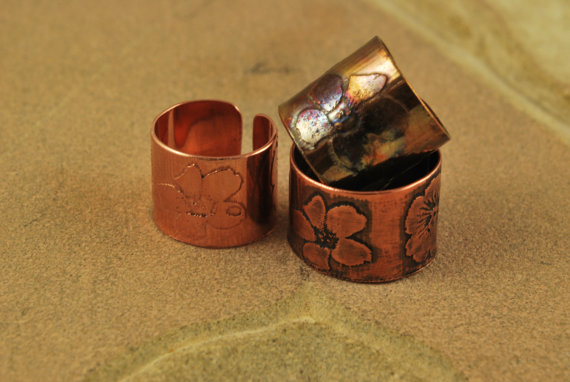 Etched Copper Flower Ring - Adjustable size
