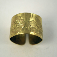 Etched Brass Flower Ring - Adjustable