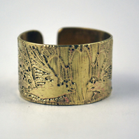 Etched Brass Rook crow Ring - Adjustable size