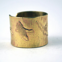 Etched Brass Bird Ring - Adjustable size