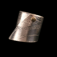 Sterling silver etch printed gold riveted ring