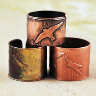 Etched Copper Bird on Wing Ring - Adjustable size