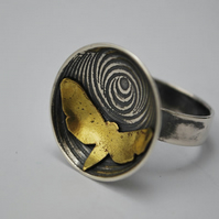 Butterfly moth illusion ring - sterling silver and brass ring - mixed metal ring
