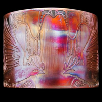 Etched copper crow rook cuff bracelet - large size
