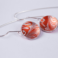 orange inverted disk aluminium and silver printed earrings