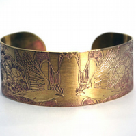 Brass rook crow Cuff - medium size