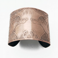 Large Bronze Crow Cuff